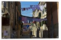 Venetian street on washing day, Acrylic Print
