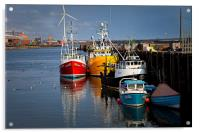 Fishing boats in harbour, Acrylic Print