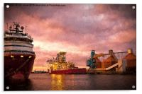 Port of Blyth at dusk with Artistic Filter, Acrylic Print