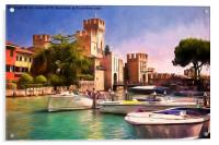 Sirmione Scaliger Castle with artistic filter, Acrylic Print