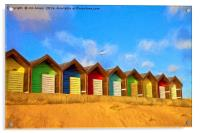 Beach Huts with artistic filter, Acrylic Print