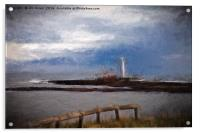 St Mary's Island in the style of Turner, Acrylic Print