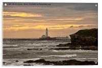 St Mary's Island and Lighthouse, Acrylic Print