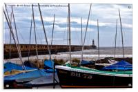 Tynemouth Pier and sailing boats, Acrylic Print