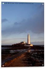 St Mary's Island and lighthouse., Acrylic Print