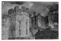 Warkworth Castle in Black and White, Acrylic Print
