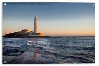 St Mary's Island under a pastel sky, Acrylic Print