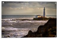 St Mary's island viewed from Old Hartley, Acrylic Print