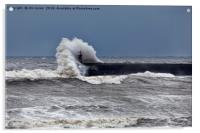 Waves over South Shields pier, Acrylic Print