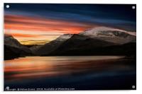 Lake Sunset Snowdonia, Acrylic Print