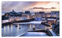 Tenby Harbour in the Snow, Acrylic Print