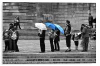 Rainy Day Queue, Acrylic Print