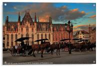 Markt Square at dusk, Bruges, Acrylic Print