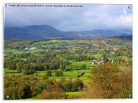 Furness Fells and the Langdales from Latterbarrow,, Acrylic Print