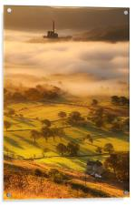 Golden mists over castleton 2, Acrylic Print
