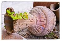 decorative earthen pot garden ornament, Acrylic Print