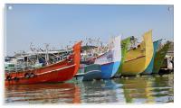 Colorful Indian fishing boats, Acrylic Print