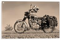 Touring Motor cycle parked on Roadside, Acrylic Print