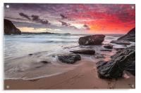 Lusty Glaze Cove at Sunset, Acrylic Print
