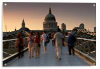 Millennium Bridge people, Acrylic Print