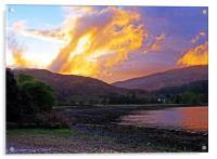 Loch a Choire sunset                           , Acrylic Print