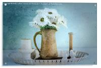 Moody Blue Daisies, Acrylic Print
