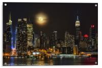 Super Moon Over NYC, Acrylic Print