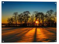 Sunset on snow Kinross, Acrylic Print