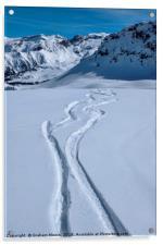 Snowboard tracks, Acrylic Print