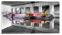 Canal Barges Under The Bridge, Acrylic Print