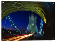 Tower Bridge London at Night, Acrylic Print