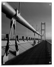 Humber Bridge Sunset In Black & White, Acrylic Print