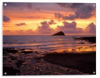 Wembury Bay Sunset, Acrylic Print