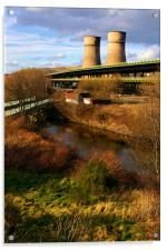 Tinsley Cooling Tower, M1 & River Don, Acrylic Print