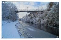 Bridge over frozen Sheffield Canal, Acrylic Print