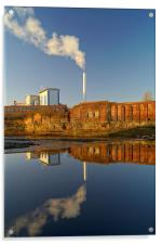 Incinerator Reflections in River Don, Acrylic Print