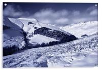 Snow covered Valley,Grindsbrook near Edale, Acrylic Print