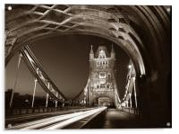 Tower Bridge London at Night, Sepia Toned, Acrylic Print