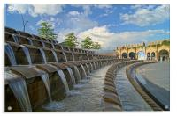 Sheaf Square Water Feature & Sheffield Station, Acrylic Print