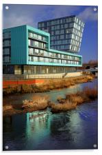 Modern Apartment Buildings next to River Don, Acrylic Print