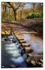 Porter Brook Stepping Stones & Falls, Acrylic Print