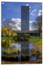 University Arts Tower & Weston Park Pond, Acrylic Print