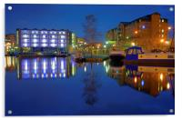 Victoria Quays Night Reflections, Acrylic Print