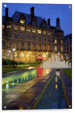 Sheffield Town Hall and Goodwin Fountain at Night , Acrylic Print