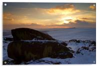 Winter Sunset on Carl Wark , Acrylic Print