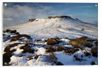Carl Wark and Higger Tor in Winter , Acrylic Print