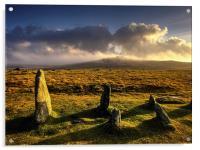 Merrivale Stone Rows Sunset , Acrylic Print