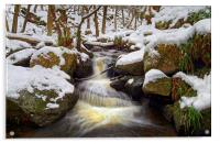 Snow in Padley Gorge , Acrylic Print
