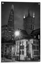 The Shard & Southwark Cathedral at Night , Acrylic Print
