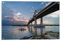 Marcelo Fernan Bridge at Sunset                   , Acrylic Print